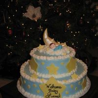 Baby Lucas' Baby Shower French Vanilla with strawberry filling, BC icing, stars are made of fondant, Moon is made of Gumpaste. I truly enjoyed doing this cake! I...