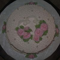 Miller Bday Cake, Top View French Vanilla with strawberry filling, buttercream icing with edible luster dusted pearls