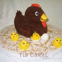 Mommy Hen With Her Chicks I made this cake for my mom for Mother's Day. The four chicks are her kids. : ) The hen is made with the Wilton Ducky pan. The chicks...