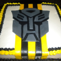 Transformer/ Bumble Bee Cake   Buttercream...Fondant logo and stripes...Thanks for looking!
