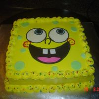 Spongebob Cake!   Buttercream with fondant eyes and mouth. Thanks CC for this idea. Made for my niece who turned 2!