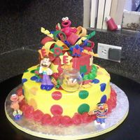Sesame Street Cake   buttercream with fondant decorations. store bought characters.