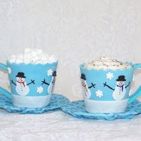 "Cupcake Mugs Jumbo (approx 4"") chocolate cupcakes covered in fondant and topped with marshmallows or buttercream ""whipped cream."" TFL"