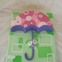 Umbrella Cake 16 inch half round. All fondant. Inspired by umbrella on baby shower invitation.