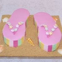 Flip Flops Cake Carved single layer cake covered in fondant. Graham cracker sand and candy shells. Thanks to melysa for inspiration and directions on her...