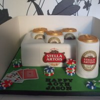 Stella Artois This cake was for a 40th birthday for someone who loves playing poker and drinking stella.