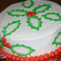 Holly Leaves And Berries  First try with brush embroidery. This is a 9-inch cake with all buttercream. I used a cookie cutter so the leaves would all be uniform....