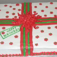 Christmas Birthday Cake 12x18 half chocolate, half french vanilla. My neighbor turned 91 and asked for a birthday cake with Christmas colors. This was inspired by...
