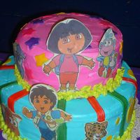 "Dora & Diego Cake 9"" & 12"" Yellow Cake w/Buttercreme Frosting, Fondant and Edible Image Accents"
