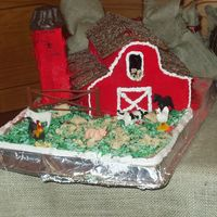 Barn Cake Three marble pound cakes, stacked. Red/White Buttercream, black gel. Chocolate Graham Cracker Roof. Silo is oreo's stacked w/...