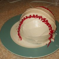 Baseball Cake Carrot Cake, Cream Cheese Frosting, Red buttercream for stitching