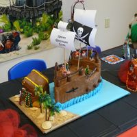 Pirate Ship And Treasure Chest  pirate ship and treasure chest made out of vanilla cake and chocolate buttercream icing. Ship has chocolate candy and chocolate twizzler...