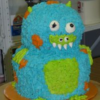 Monster Cake I teach an afterschool cake decorating studio at my daughter's school and this was a cake that my students (ages 7 to 10) decorated...