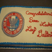 Eagle Scout Award Cake Celebration of 4 Boy Scouts making it to Eagle Scout. Eagle Scout Emblem