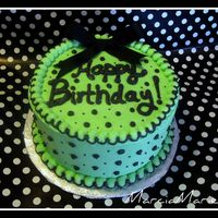 Green Polka Dot Birthday Red Velvet cake covered in buttercream (8in). Satin ribbon bow on top. This cake is for my cousin's MIL, her favorite color is green,...