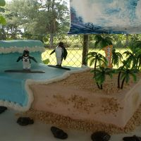 Surf's Up Wave sheet cake with 3D wave and Surf's Up motive