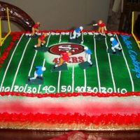 49Ers Vs Dallas Cowboys I made this cake for my brother...he loves the Niners! His favorite cake is lemon, so that's what he got! I don't pipe very well...