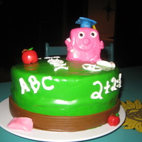Abc   did a quick and simple cake for my goddaughter. 8 in cake covered with mmf. wrote with buttercream.