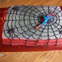Spiderman Chocolate with BC with cotton candy flavoring. Spiderman came from Walmarts bakery. Web and spiders are BC. Made this foe grandsons...