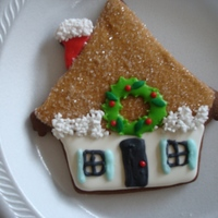 Christmas House Cookie I decorated this cookie in a class locally.