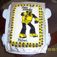 Transformers Vanilla cake with buttercream dream icing and FBCT.