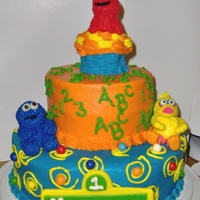 Sesame Street Made this cake for my son' s first birthday. Tried my best to mold out the Elmo, Cookie Monster and Big Bird out of MMF. I guess it...
