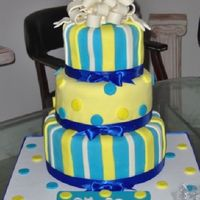 "Blue/yellow Baby Shower Cake This is my 1st MMF covered cake. It was for my baby shower and everyone loved it. Each cake was 4"" tall with buttercream filling and..."