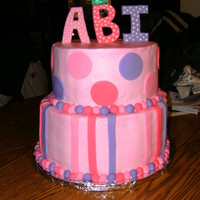 Pink And Purple Baby Shower Cake BC with fondant accents