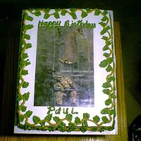 Paul's Birthday  This was a comical photo I pulled from the internet and made an edible image. He is an avid deer hunter and loved it! White mix with all BC...
