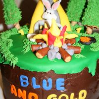 Blue And Gold Banquet Cake My husband and son made this cake for a Blue and Gold banquet cake contest. It is a 2 layer 9 inch cake in fondant and buttercream. They...