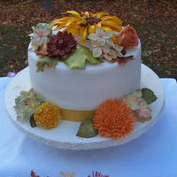 Autumn Theme Birthday Cake  8 inch cake, one layer each, lemon, orange, and pineapple cake, filled with vanilla mousse, frosted with vanilla buttercream, covered with...