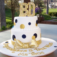 Retirement Cake navy & gold accents on fondant. navy color was airbrushed and gold was combination of airbrushing and painted with vodka and petal dust...