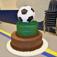 Soccer Ball Cake  This was for my sons soccer banquet!this cake was inspired by Amanda Leamons. the bottom two layers were quite simple, frosted in...