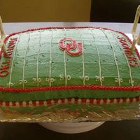Ou Football Field This was a birthday cake for my nephews fiance who goes to OU. It is a chocolate cake with all buttercream icing. The goal posts are...