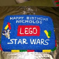 Lego Starwars This is a birthday cake for my son who is into the x-box game lego starwars. Chocoloate cake with buttercream icing and fondant legos. The...