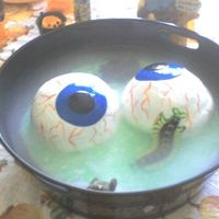 Eye Ball Brew A witches brew with bugs, a mouse and two eye balls that will ooze strawberry filling when cut! Dry ice used for for effect. Sorry that the...