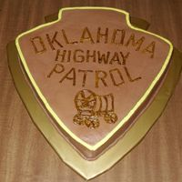 Oklahoma Highway Patrol Shoulder Patch Grooms cake for an Oklahoma State Trooper.