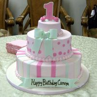 Camryn's First Birthday 4-8-12 Red Velvet Cake with Cream Cheese Icing. Fondant accents. Gumpaste bow and number. I saw a cake on CC that gave me the inspiration...