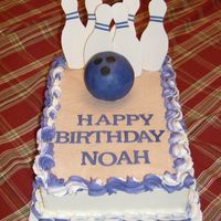 Bowling Cake - Noah This is my rendition of a cake I saw on CC awhile back. I can't remember who did it though. Fondant pins and a rice krispy treat ball...