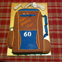 Golf Bag Birthday Cake Chocolate buttercream with fondant accents. The guy wanted chocolate frosting, but wanted Gator colors (big fan). The cake was suppose to...