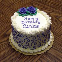 "Carina Birthday 6"" white cake with strawberry filling. Whipped cream icing."
