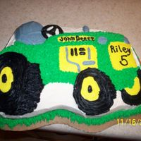 "Tractor Cake My version of John Deere. I think I looked at a couple of different pictures on CC to come up with the final ""design"" My nephew..."