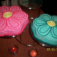 Daisies My grandmas 78th Birthday. One white and one strawberry cake both with Buttercream Dream icingFirst time trying this icing and I love it!...