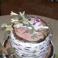 Top View Birch Bark Wedding birds and branches made of gumpaste