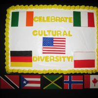 International Flags This is a 2 layer 9x13 cake I made for work. We had a cultural diversity luncheon and a co-worker suggested I make a cake with flags for...