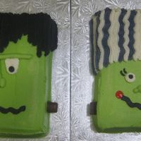 Frankenstein & Bride Of Frankenstein I decided last minute to make these for the Halloween luncheon at work. Thanks to CC for the ideas. I think they are adorable and pretty...