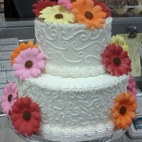 Wedding Cake Made At Work   very simple stacked cake, with bought gum paste flowers