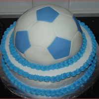 Let's Play Soccer This is a practice cake. Got asked to make a soccer cake and decided to give the ball pan a try and covered it in fondant