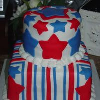 July 4Th Buttercream with fondant accents. Made for July 4th cook out.