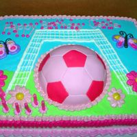Girly Soccer My cousin asked for a girly soccer and with the help of CC inspiration here is what I came up with. Soccer Ball is covered in fondant...